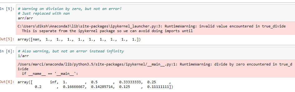 numpy array operations